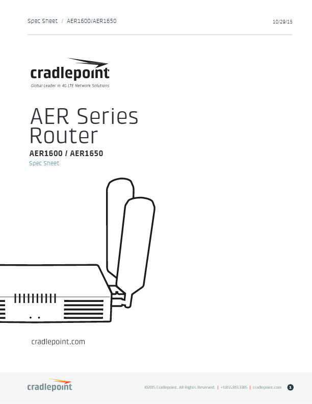 Cradlepoint AER1600 Specifications Sheet   dcitech com